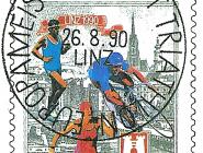 Briefmarkendesign anlässlich der Triathlon-Europameisterschaft in Linz 1991