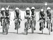 Radtraining (v.l.n.r.): Rudolf Loidl, Gerald Slacik, Dieter Hollerwöger, Peter Entenfellner, Günther Strachon, ??? , Elke Müller.
